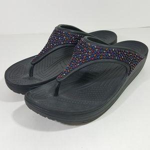 Crocs Women's Bejeweled Sandals Size 10 Black